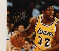 Michael Jordan & Magic Johnson Signed Lakers 16x20 Photo (UDA COA, PSA COA & Johnson Hologram) at PristineAuction.com