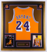 Kobe Bryant Lakers 33x37 Custom Framed Jersey with 2020 Hall of Fame Induction Pin at PristineAuction.com