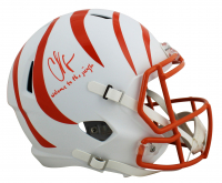 """Chad Johnson Signed Bengals Full-Size Flat White Alternate Speed Helmet Inscribed """"Welcome To The Jungle"""" (JSA COA) at PristineAuction.com"""