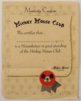 1950s Walt Disney Mickey Mouse Club Membership Certificate With 5x7 Photo at PristineAuction.com