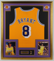 Kobe Bryant 32x36 Custom Framed Jersey With 2001 & 2004 Finals Pin at PristineAuction.com