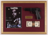 """Henry Hill Signed """"Goodfellas"""" 16x22 Custom Framed Print Display Inscribed """"Goodfella"""" with Replica Gun & Prop Money (PSA COA) at PristineAuction.com"""