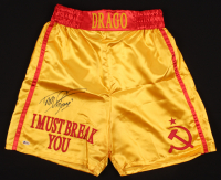 """Dolph Lundgren Signed Boxing Trunks Inscribed """"Drago"""" (Beckett COA) at PristineAuction.com"""