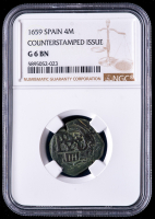 Philip IV 1659 Spain 8 Maravedis - Spanish Colonial Cob Coin (NGC G6 BN) at PristineAuction.com