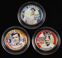 Set of (3) Babe Ruth Baseball Legends Statehood Colorized Quarters at PristineAuction.com
