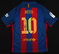 "Lionel Messi Signed FC Barcelona Jersey Inscribed ""Leo"" (PSA LOA) at PristineAuction.com"