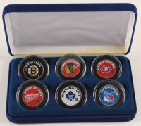 """""""The Original Six"""" NHL Teams 6-Coin Colorized Set with Boston Bruins, New York Rangers, Chicago Blackhawks, Detroit Red Wings, Toronto Maple Leafs & Montreal Canadiens at PristineAuction.com"""
