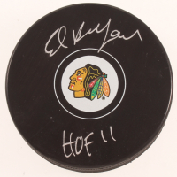 """Ed Belfour Signed Blackhawks Logo Hockey Puck Inscribed """"HOF 2011"""" (SideLine Hologram) at PristineAuction.com"""