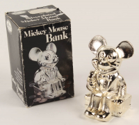 Vintage 1970's Walt Disney Productions Mickey Mouse Silver Plated Metal Bank at PristineAuction.com
