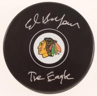 "Ed Belfour Signed Blackhawks Logo Hockey Puck Inscribed ""The Eagle"" (SideLine Hologram) at PristineAuction.com"