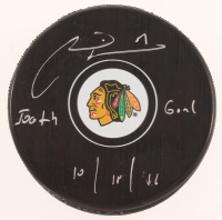 "Marian Hossa Signed Blackhawks Logo Hockey Puck Inscribed ""500th Goal"" & ""10/18/16"" (JSA Hologram) at PristineAuction.com"