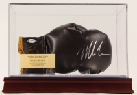 Mike Tyson Signed Vintage Everlast Boxing Glove with Display Case including All Cherry Wood Base (PSA COA) at PristineAuction.com