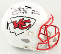 "Travis Kelce Signed Chiefs Full-Size Matte White Speed Helmet Inscribed ""SB LIV Champ"" (Beckett Sports COA) at PristineAuction.com"