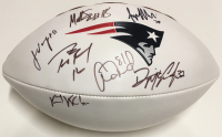 2012 Patriots Logo Football Signed by (7) with Tom Brady, Aaron Hernandez, Jerod Mayo, Vince Wilfork (PSA LOA) at PristineAuction.com