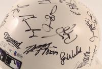 2001 Diamondbacks Full-Size Batting Helmet Team-Signed by (41) with Randy Johnson, Luis Gonzalez, Mike Morgan, Bobby Witt, Craig Counsell, Steve Finley (Beckett LOA) at PristineAuction.com