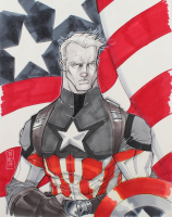 "Tom Hodges - Captain America - Marvel Comics - Signed ORIGINAL 11"" x 14"" Drawing on Paper (1/1) at PristineAuction.com"
