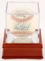 Lou Brock Signed Career Highlight Stat Baseball with Display Case (PSA COA) at PristineAuction.com