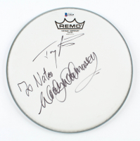 """Woody Woodmansey & Tony Visconti Signed 10"""" Drumhead (Beckett COA) at PristineAuction.com"""