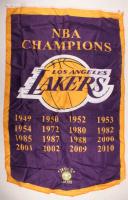 Lakers NBA Champions Logo Flag at PristineAuction.com