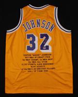 Magic Johnson Signed Career Highlight Stat Jersey (PSA COA) at PristineAuction.com