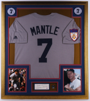 "Mickey Mantle Signed Yankees 32.75x36.75 Custom Framed Cut Display Inscribed ""Best Wishes"" with 536 HR Pin  (PSA Hologram) at PristineAuction.com"