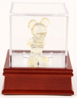 Vintage Glass Mickey Mouse Disneyland Souvenir Figure with Display Case at PristineAuction.com