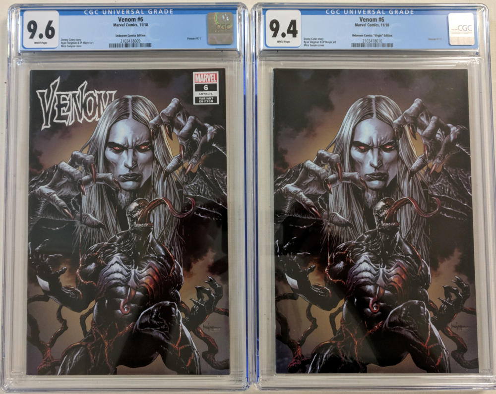 Lot of (2) 2018 Venom Issue #6 Marvel Comic Books with Unknown Comics Variant (CGC 9.6) & Unknown Comics Virgin Variant (CGC 9.4) at PristineAuction.com