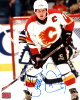 Theo Fleury Signed Flames 8x10 Photo (YSMS COA) at PristineAuction.com