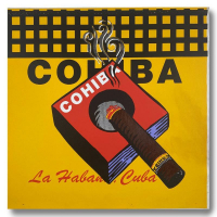 """Steve Kaufman Signed """"COHIBA"""" Limited Edition 25x25 Hand Pulled Silkscreen Mixed Media on Canvas at PristineAuction.com"""