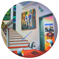 """Ferjo Signed """"Red Stairs with Miro"""" 24"""" Original Painting on Wood at PristineAuction.com"""
