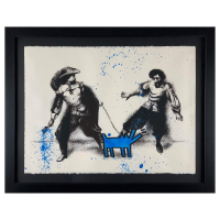 "Mr Brainwash Signed ""Watch Out!"" Limited Edition 29x37 Custom Framed Silk Screen #6/25 at PristineAuction.com"