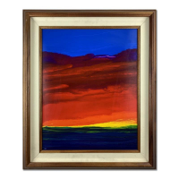 "Wyland Signed ""Painted Sunset"" 22x26 Custom Framed Original Painting on Board at PristineAuction.com"