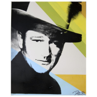 "Peter Tunney Signed ""John Wayne (Color)"" 32x40 Original Mixed Media at PristineAuction.com"