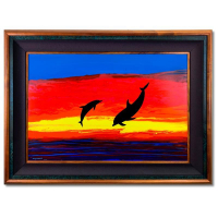 "Wyland Signed ""Dolphin Watch"" 46x34 Custom Framed Original Painting on Board at PristineAuction.com"