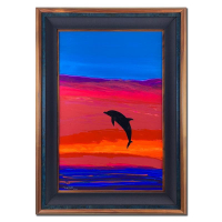 "Wyland Signed ""Sea Watch"" 33x46 Custom Framed Original Painting on Board at PristineAuction.com"