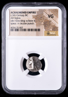 Circa 5th Century B.C. Achaemenid Empire - AR Siglos Silver Coin obv Hero King with Bow & Spear rv Incuse Punch (NGC Very Good) at PristineAuction.com