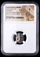 Circa 5th Century B.C. Achaemenid Empire - AR Siglos Silver Coin obv Hero King with Bow & Spear rv Incuse Punch (NGC Fine) at PristineAuction.com