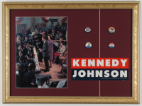 Vintage John F. Kennedy 15x20 Custom Framed Photo Display with (4) Campaign Pins & Campaign Sticker at PristineAuction.com