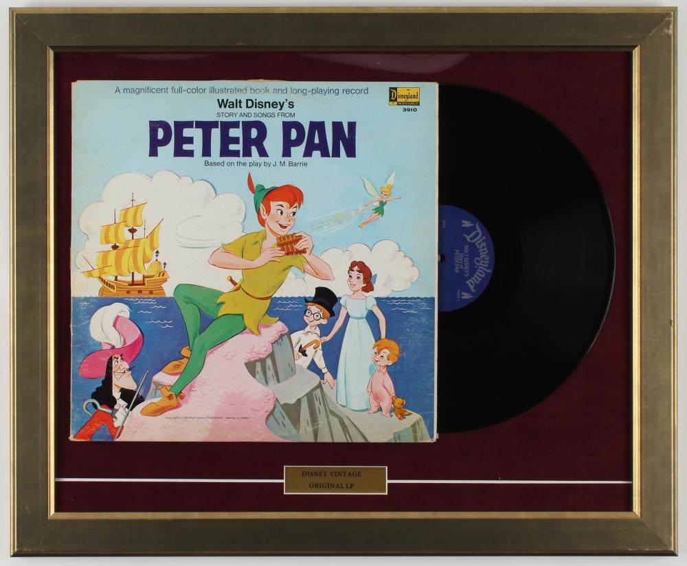 "Original Vintage Walt Disney's ""Peter Pan"" 18.5x22.5 Custom Framed 1969 Original LP Vinyl Record Album Display at PristineAuction.com"