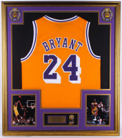 Kobe Bryant 32.75x36.75 Custom Framed Jersey With 2010 NBA Finals Pin & 2004 Finals Pin at PristineAuction.com