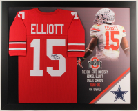 Ezekiel Elliott Signed 35.5x43.5 Custom Framed Jersey Display (JSA Hologram) at PristineAuction.com