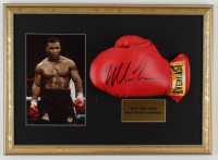 Mike Tyson Signed 16x22 Custom Framed Boxing Glove Display (PSA COA) at PristineAuction.com
