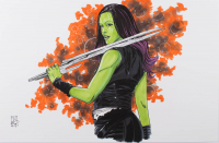 "Tom Hodges - Gamora - Marvel Comics - Signed ORIGINAL 11"" x 17"" Drawing on Paper (1/1) at PristineAuction.com"