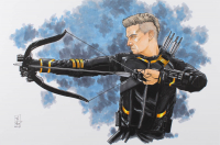 "Tom Hodges - Hawkeye - Marvel Comics - Signed ORIGINAL 11"" x 17"" Drawing on Paper (1/1) at PristineAuction.com"