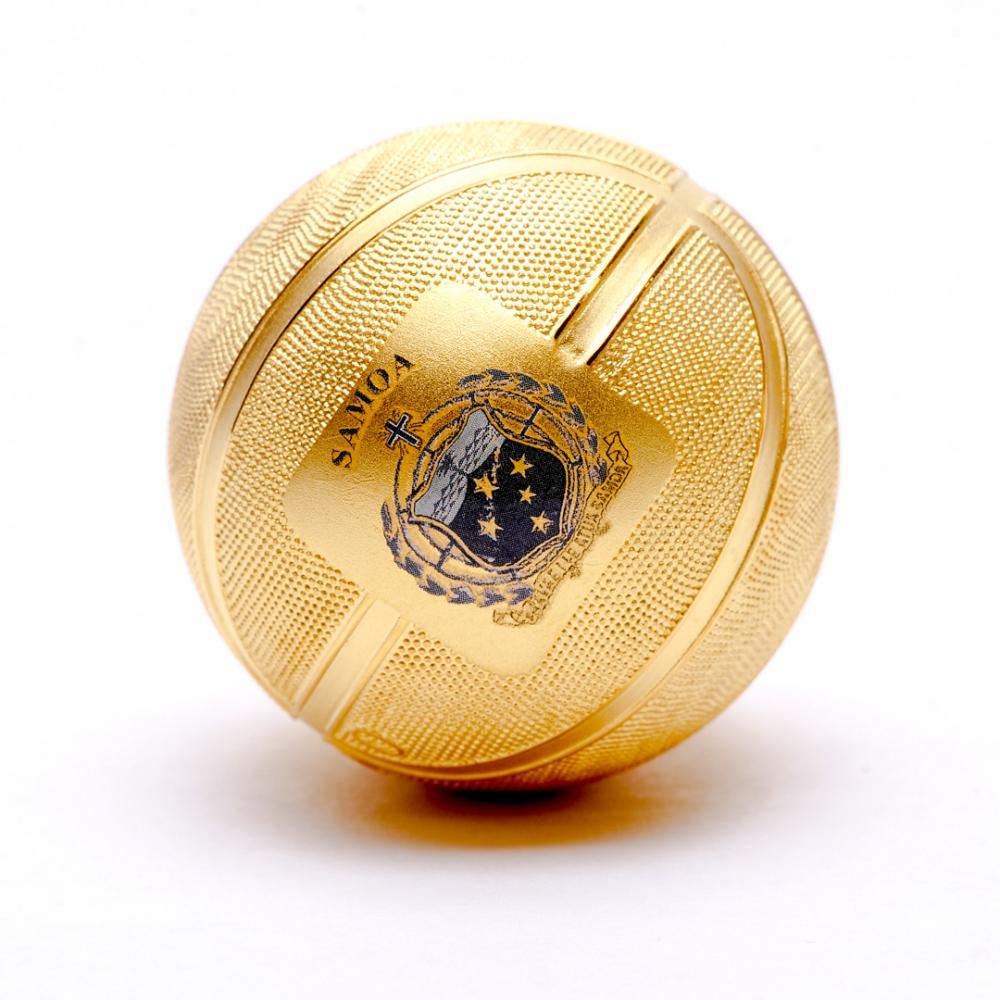 BASKETBALL SPHERICAL COIN  2020 $5 1 oz Pure Silver Gilded Spherical Coin Samoa