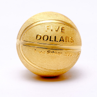 2020 Samoa $5 1 oz Silver Spherical Basketball-Shaped Coin with 24k Gold Plating (GEM Prooflike with Original Packaging) at PristineAuction.com