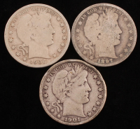 Lot of (3) Barber Silver Half Dollars with 1901, 1906-D & 1897 at PristineAuction.com