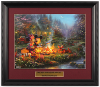 "Thomas Kinkade Walt Disney's ""Mickey & Minnie at Campfire"" 13.5x16 Custom Framed Print Display at PristineAuction.com"