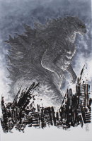 """Tom Hodges - Godzilla - Signed ORIGINAL 11"""" x 17"""" Drawing on Paper (1/1) at PristineAuction.com"""