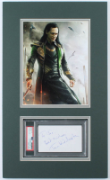 """Tom Hiddleston Signed 12x20 Custom Matted Cut Display Inscribed """"Best Wishes"""" (PSA Encapsulated) at PristineAuction.com"""